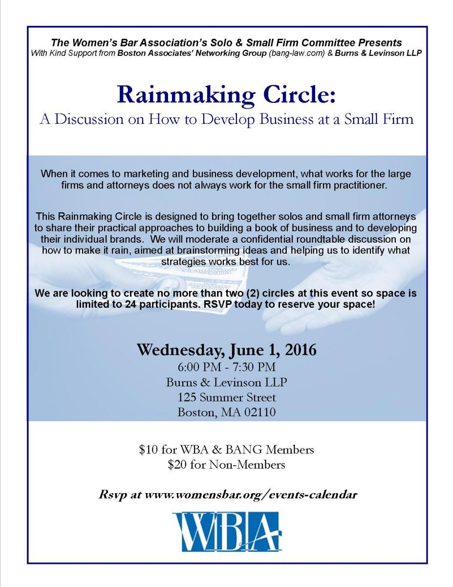 Rainmaking Circle: a Discussion on How to Develop Business at a